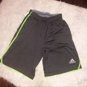 Adidas climate gray and lime green shorts small